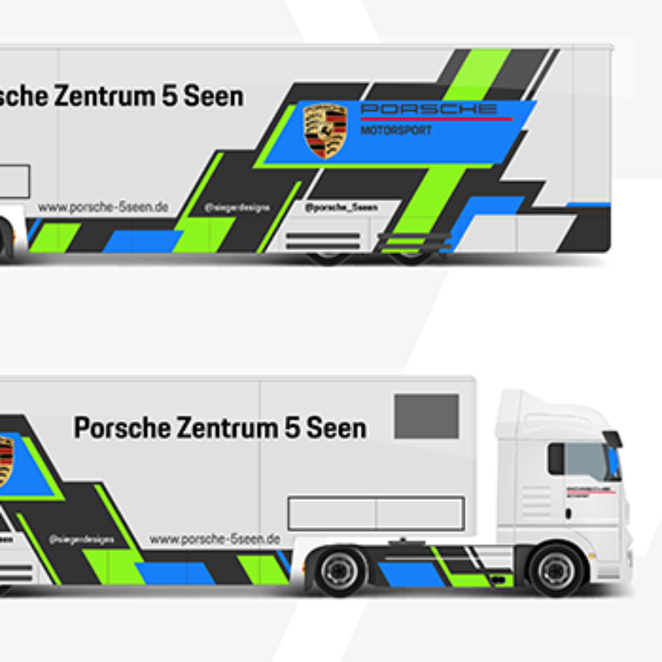 2D Design Service such as Trucks transporting race car to various venues.